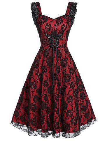 Lace-up Fit And Flare Sweetheart Collar Rose Lace Dress