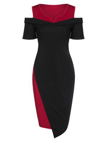 Cold Shoulder Asymmetric Contrast Bodycon Dress