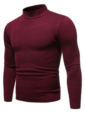 Solid Color Mock Neck Pullover Sweater - RED WINE - 2XL