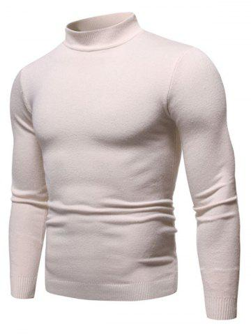 Solid Color Mock Neck Pullover Sweater