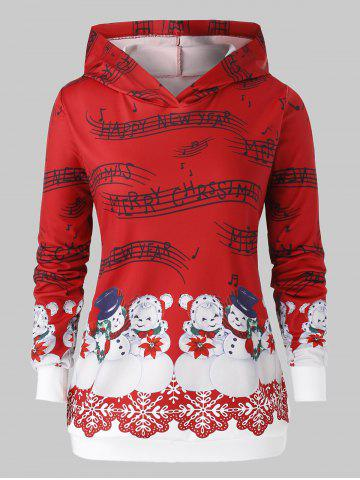 Plus Size Christmas Musical Notes Snowman Print Hoodie - CHESTNUT RED - 5X