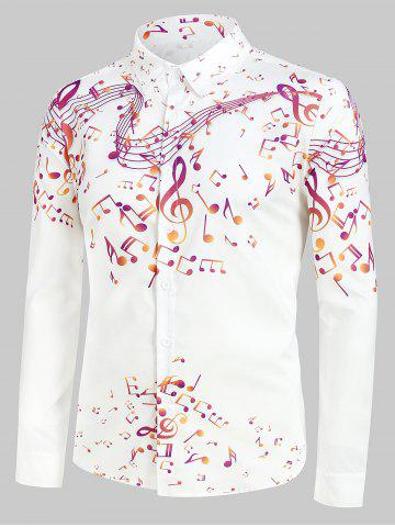 Plus Size Music Notes Print Button Up Long Sleeve Festival Shirt - WHITE - 3XL