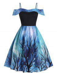 Plus Size Handkerchief 3D Galaxy Tree Print Dress -