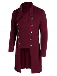 Double Breasted Back Slit Wool Blend Military Coat -