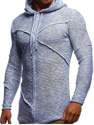 Curved Hem Cross Pullover Heathered Hooded Sweater -