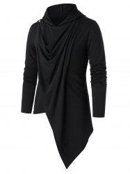 Asymmetric Button Embellished Draped Pullover Hoodie -