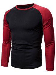Colorblock Splicing Raglan Sleeve T-shirt -
