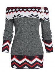 Off Shoulder Geometric Foldover Knit Sweater -