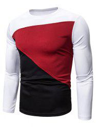 Color Blocking Spliced Long Sleeve T-shirt -
