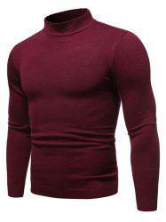 Solid Color Mock Neck Pullover Sweater -