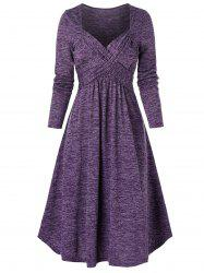 Space Dye Print Crossover Long Sleeve Casual Dress -