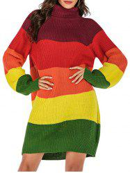 Colorblock Turtleneck Mini Sweater Dress -