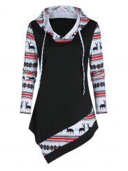Christmas Deer Splicing Asymmetric Hoodie -