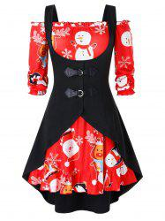 Plus Size Christmas Off Shoulder Printed Dress And Buckle Top Set -