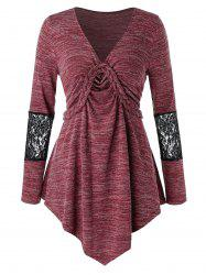 Plus Size Lace Panel Braided Asymmetrical Long Sleeve Tee -