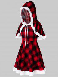 Plus Size Christmas Hooded Plaid Capelet and Mini Dress Set -