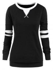 Contrast Stitching Stripes Panel Pullover Plus Size Sweatshirt -