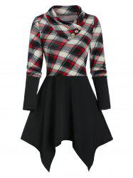 Plaid Hanky Hem T Shirt -