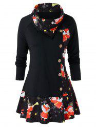 Plus Size Christmas Angel Print Flounce T Shirt -