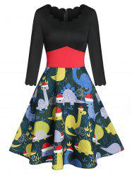 Christmas Dinosaur Print Wavy Round Neck Dress -