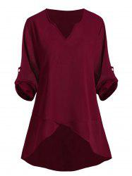 Buttoned Sleeve Tabs High Low V Neck Plus Size Blouse -