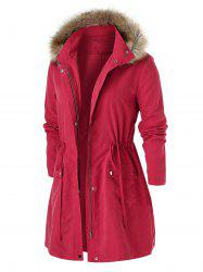Plus Size Furry capuche Big Pocket Coat Champ -