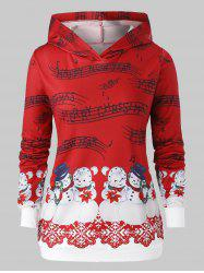 Plus Size Christmas Musical Notes Snowman Print Hoodie -