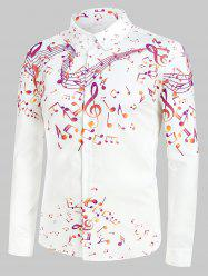 Plus Size Music Notes Print Button Up Long Sleeve Festival Shirt -