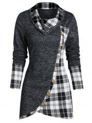 Plaid Print Mock Button Overlap Tunic T-shirt -