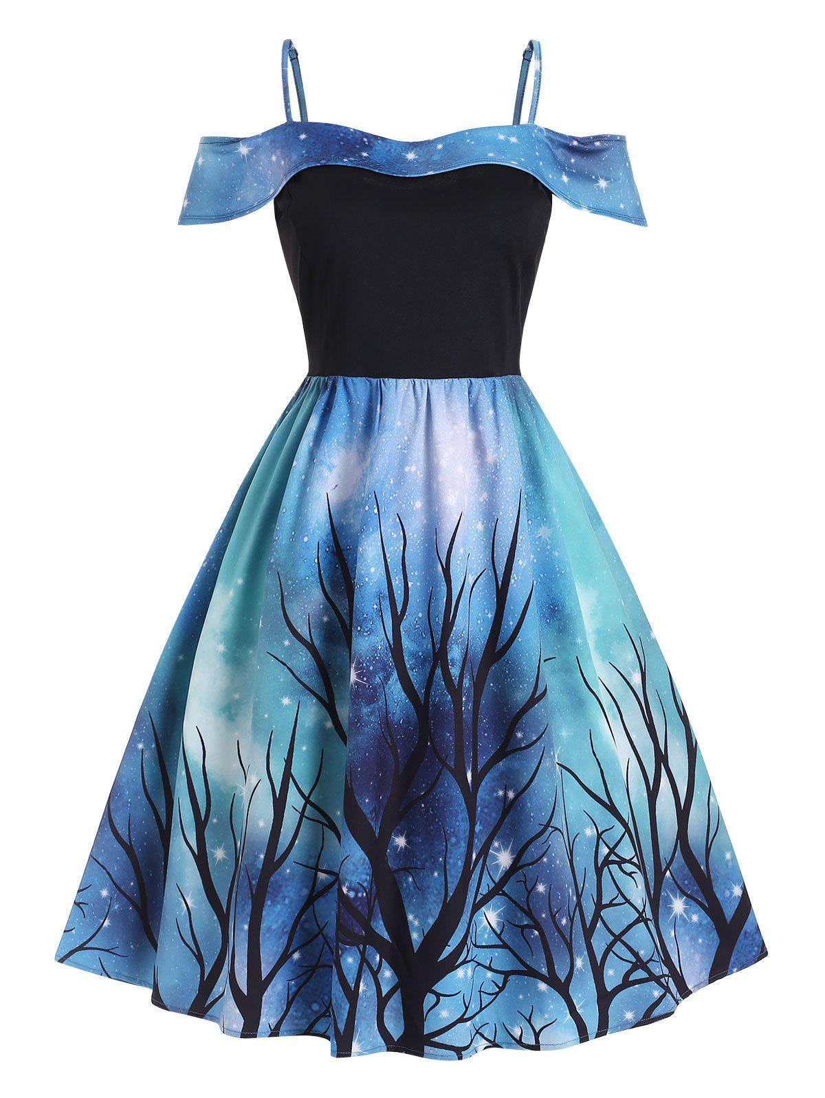 Chic Plus Size Handkerchief 3D Galaxy Tree Print Dress