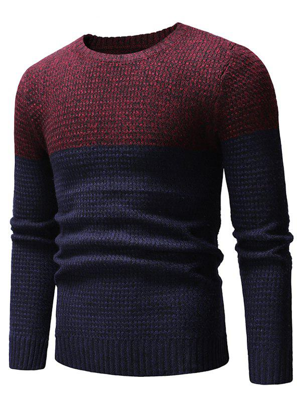 Trendy Two Tone Splicing Casual Pullover Sweater