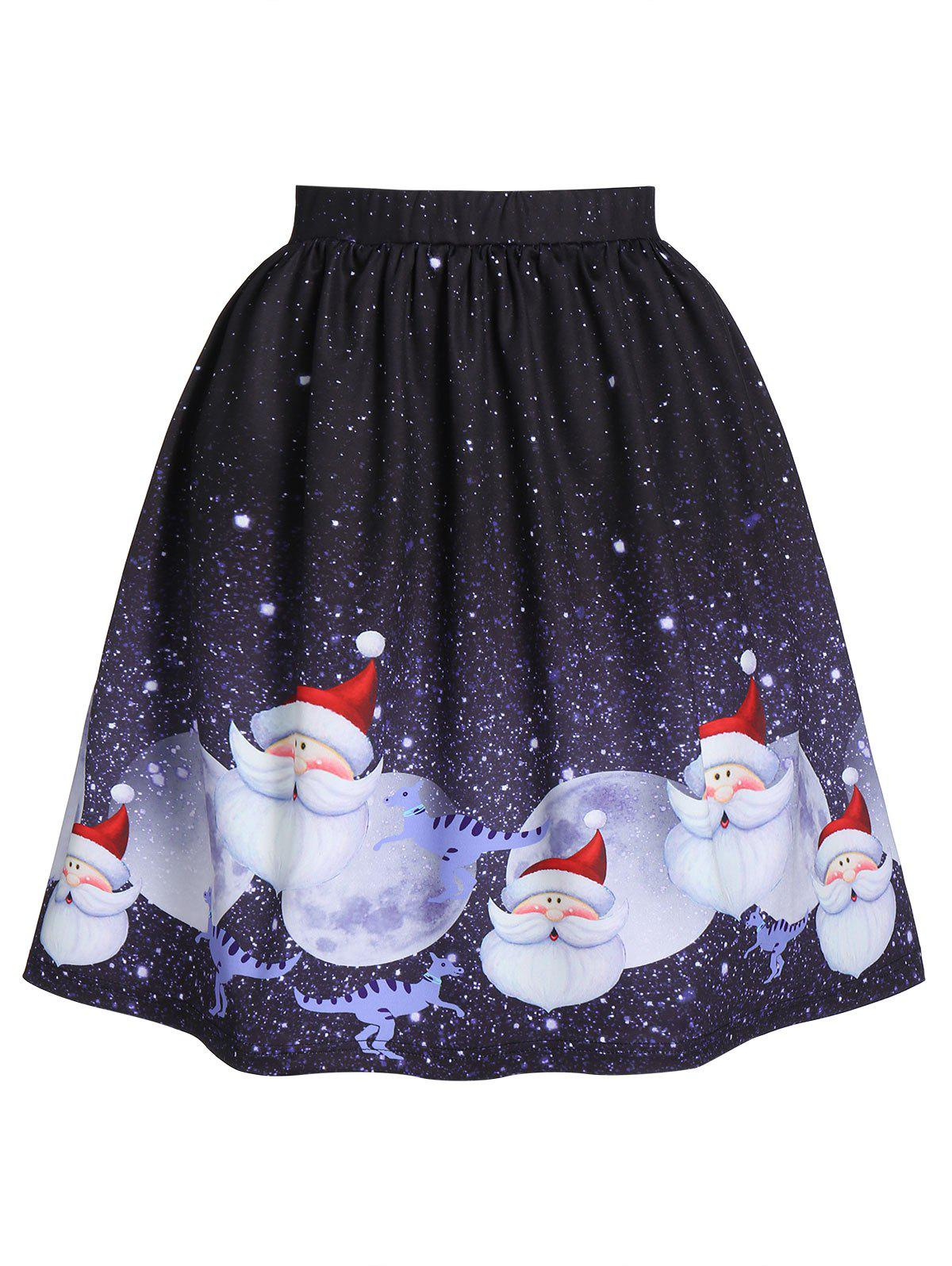 Affordable Christmas Santa Moon Print Skater Skirt
