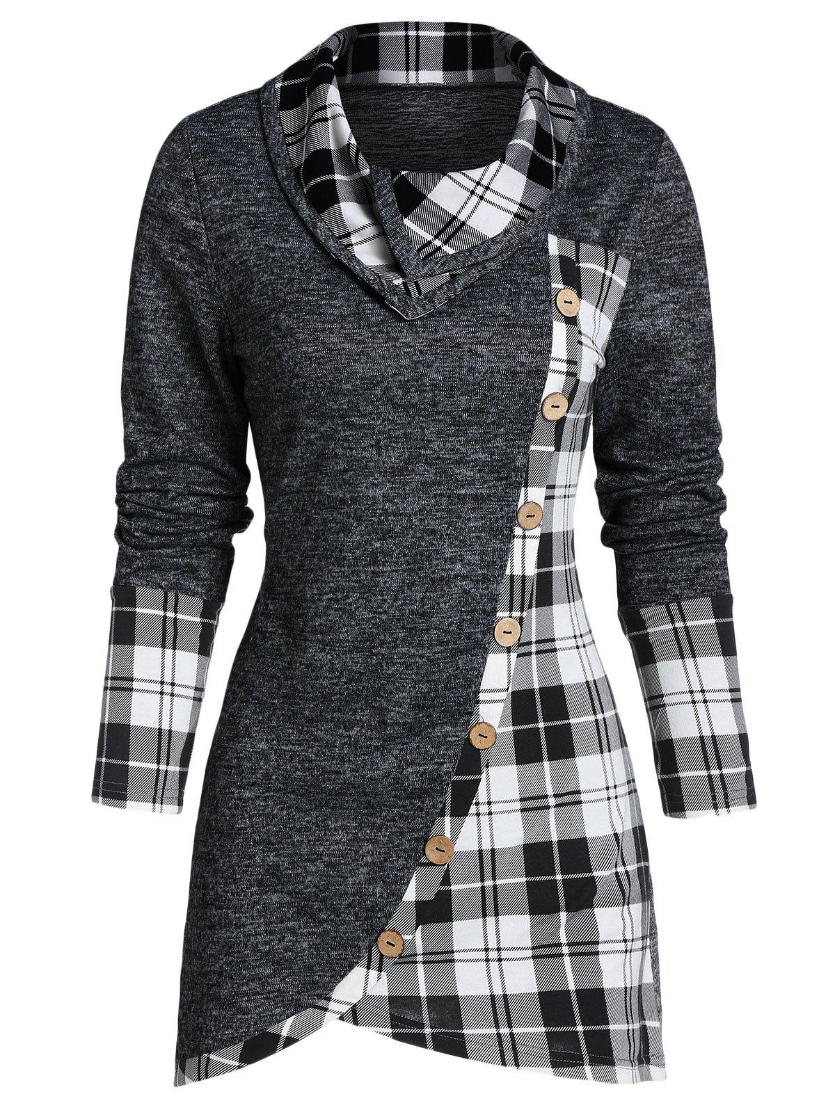 Outfit Plaid Print Mock Button Overlap Tunic T-shirt