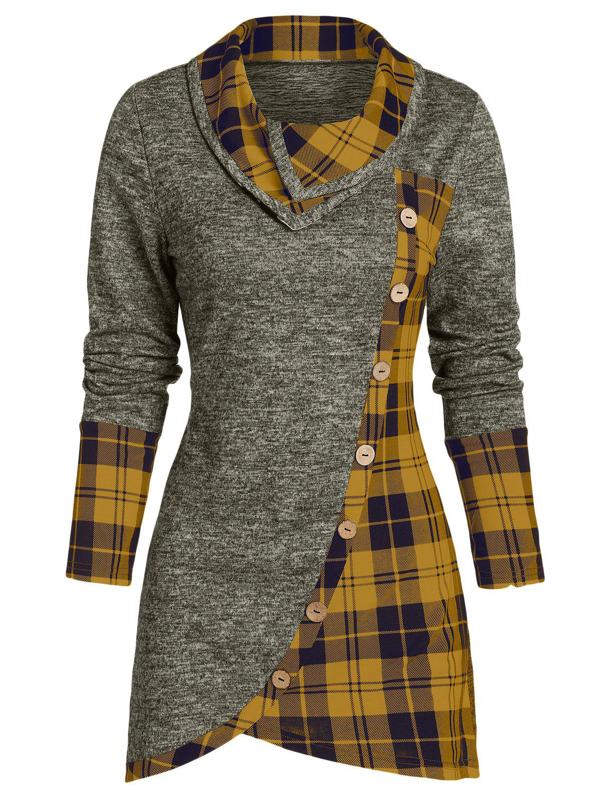 Shops Plaid Print Mock Button Overlap Tunic T-shirt