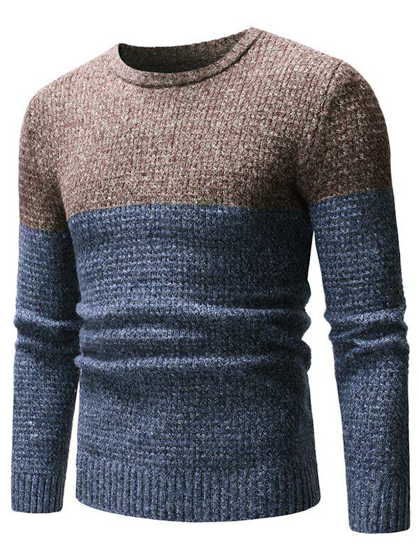 Latest Two Tone Splicing Casual Pullover Sweater