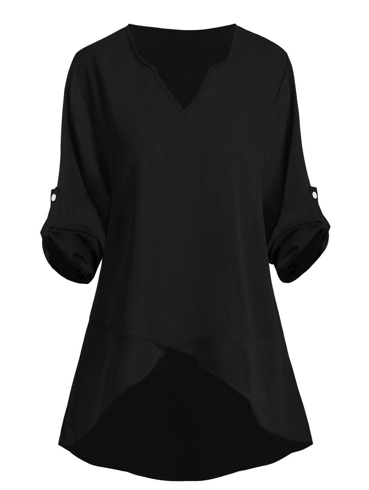 Fashion Buttoned Sleeve Tabs High Low V Neck Plus Size Blouse