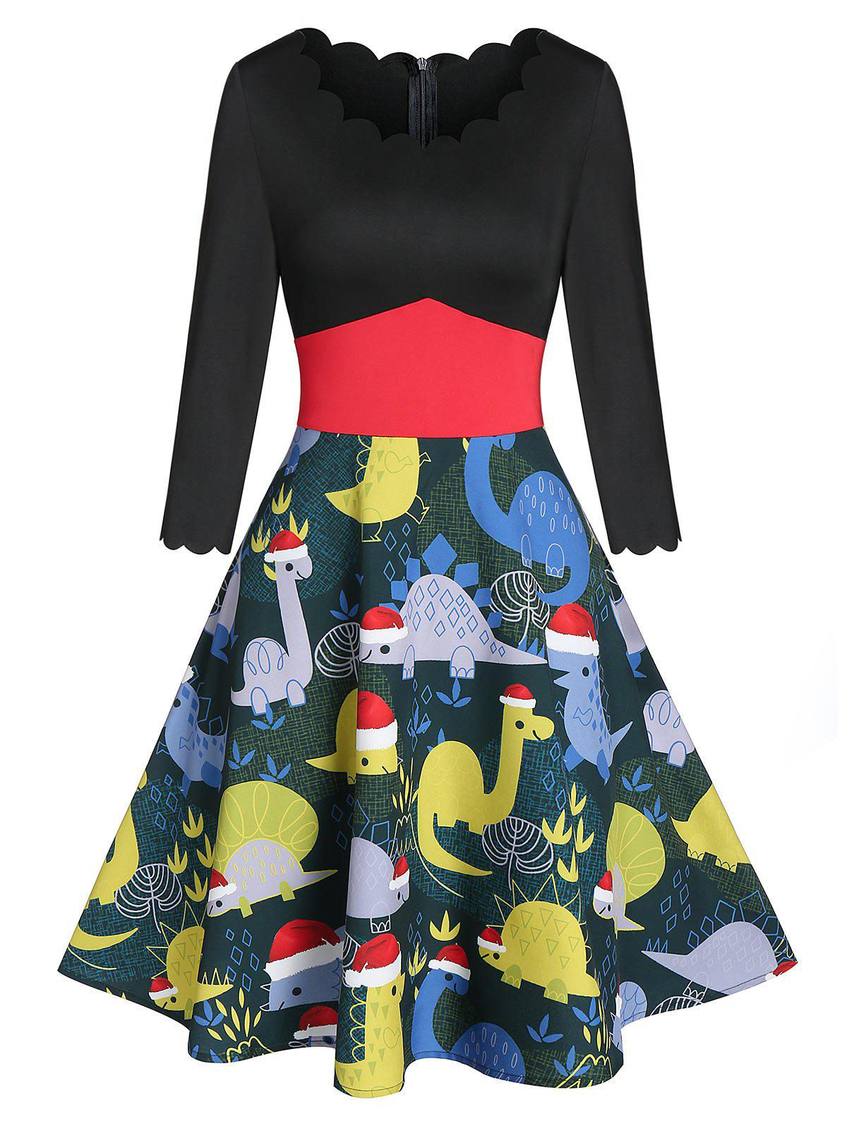 Chic Christmas Dinosaur Print Wavy Round Neck Dress
