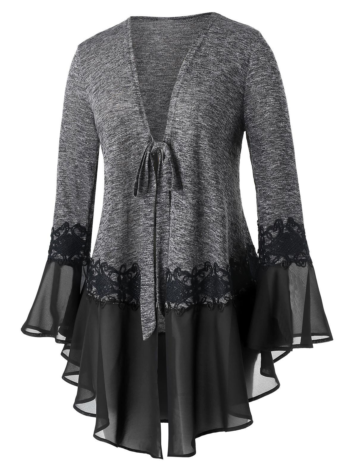 Hot Plus Size Tunic Marled Flare Sleeve Cardigan