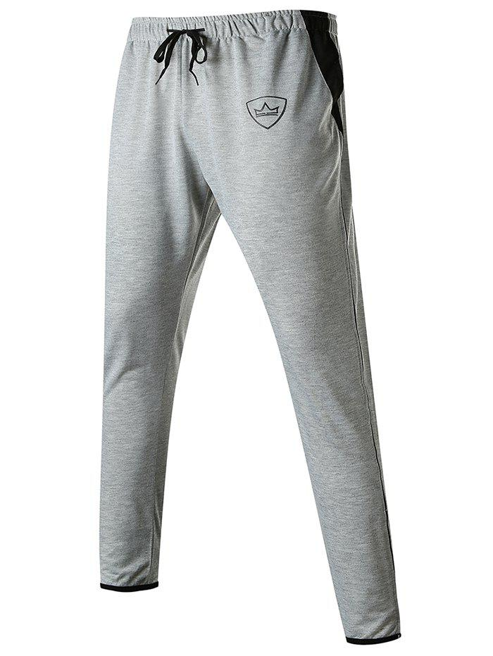 New Contrast Trim Zip-hem Crown Print Long Sport Pants