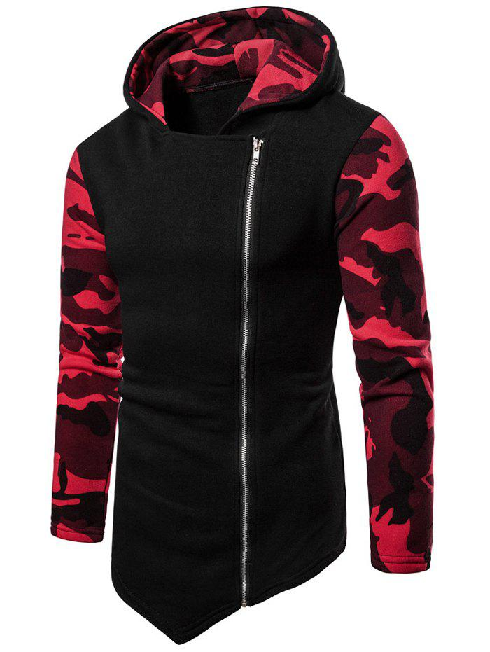 Sweat à Capuche Haut Bas Jointif Camouflage Rouge XL