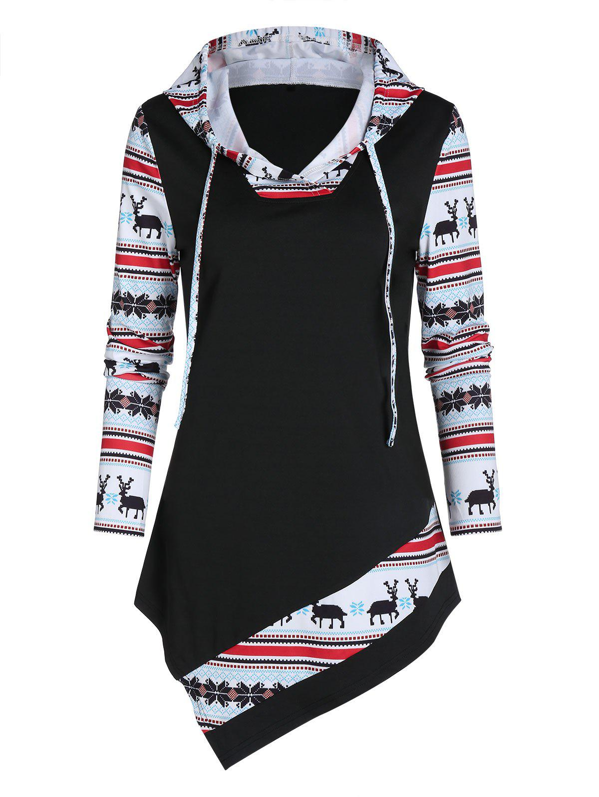 Shop Christmas Deer Splicing Asymmetric Hoodie