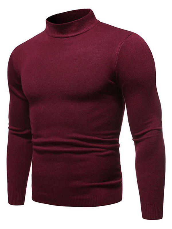 Sale Solid Color Mock Neck Pullover Sweater