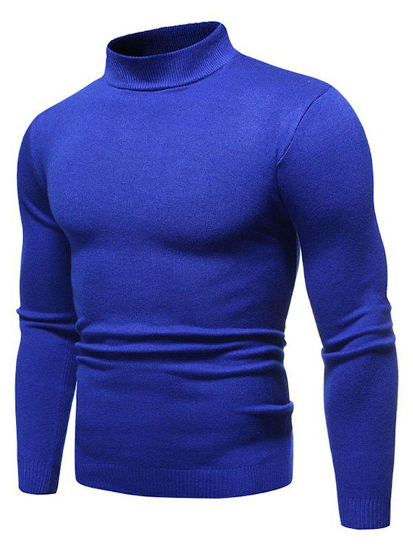 Trendy Solid Color Mock Neck Pullover Sweater