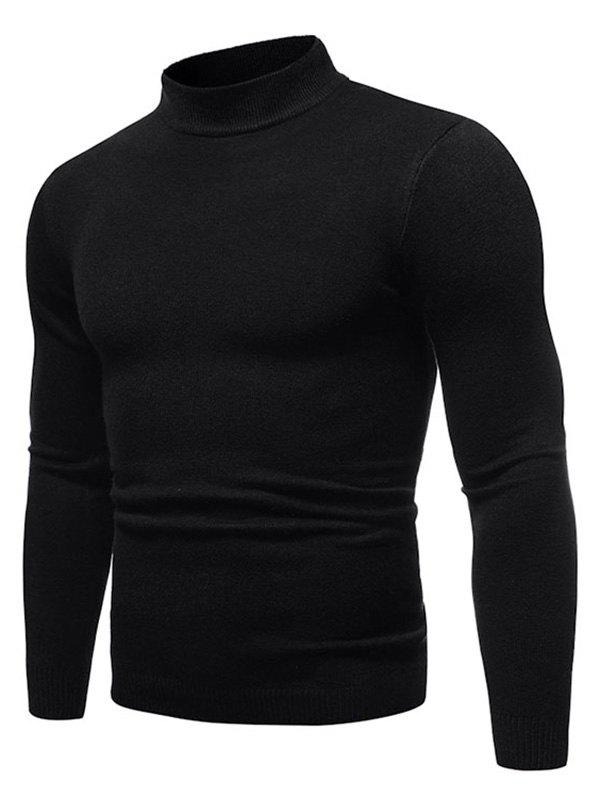 Buy Solid Color Mock Neck Pullover Sweater