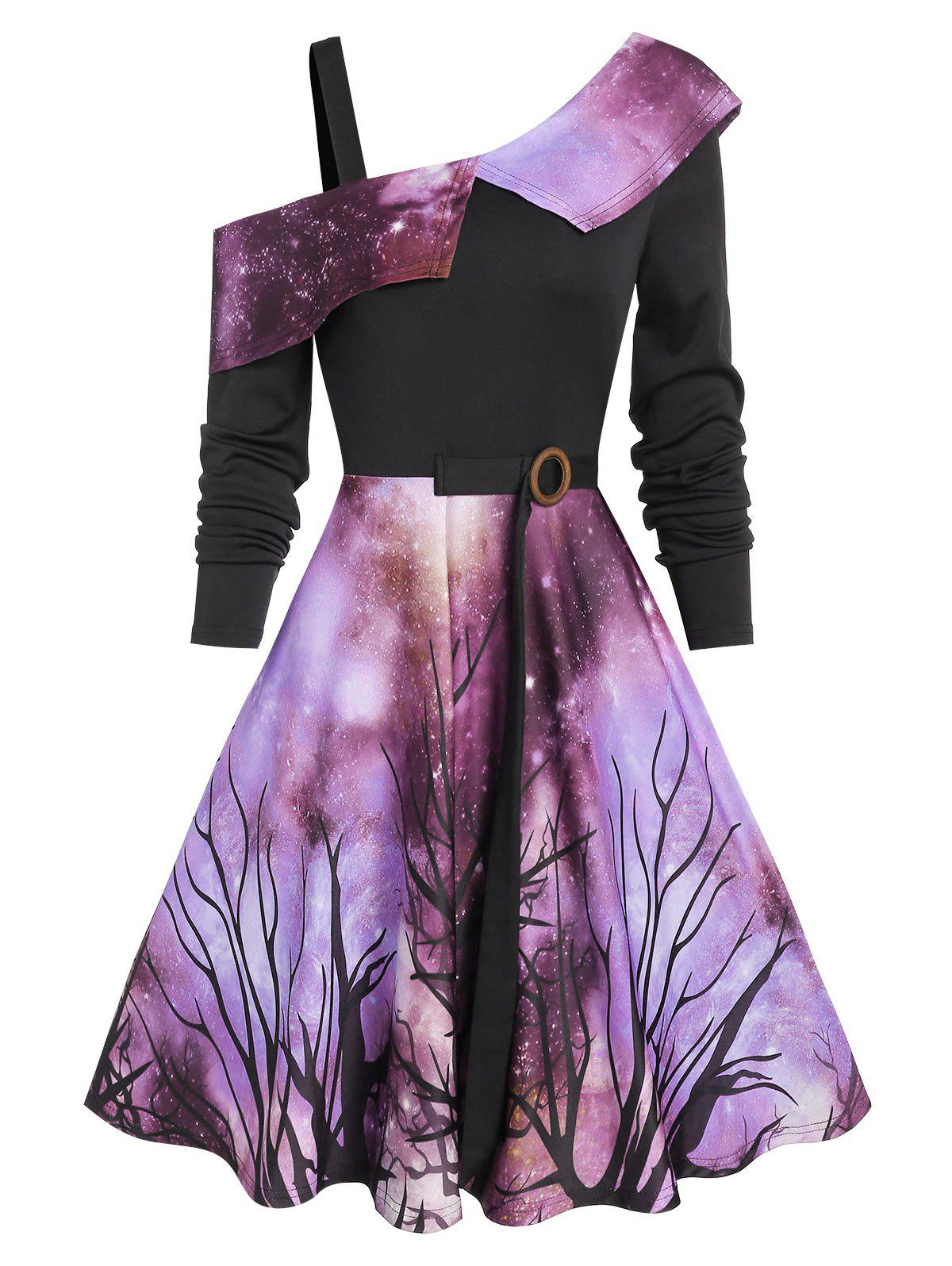 Shop Halloween Starry Sky Pattern Skew Neck Dress