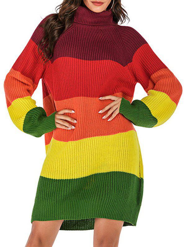 Affordable Colorblock Turtleneck Mini Sweater Dress