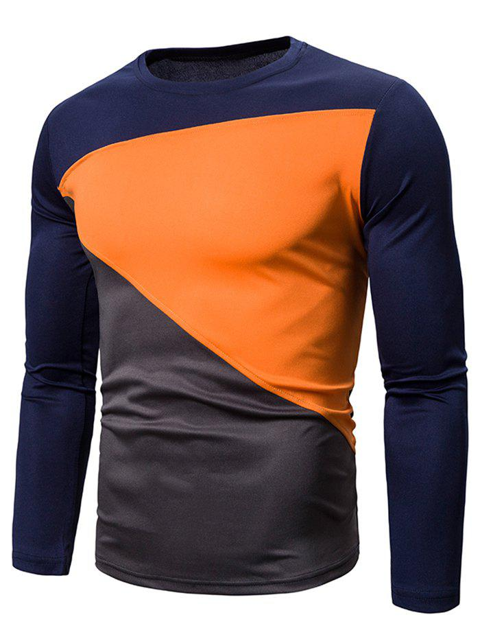 Discount Color Blocking Spliced Long Sleeve T-shirt