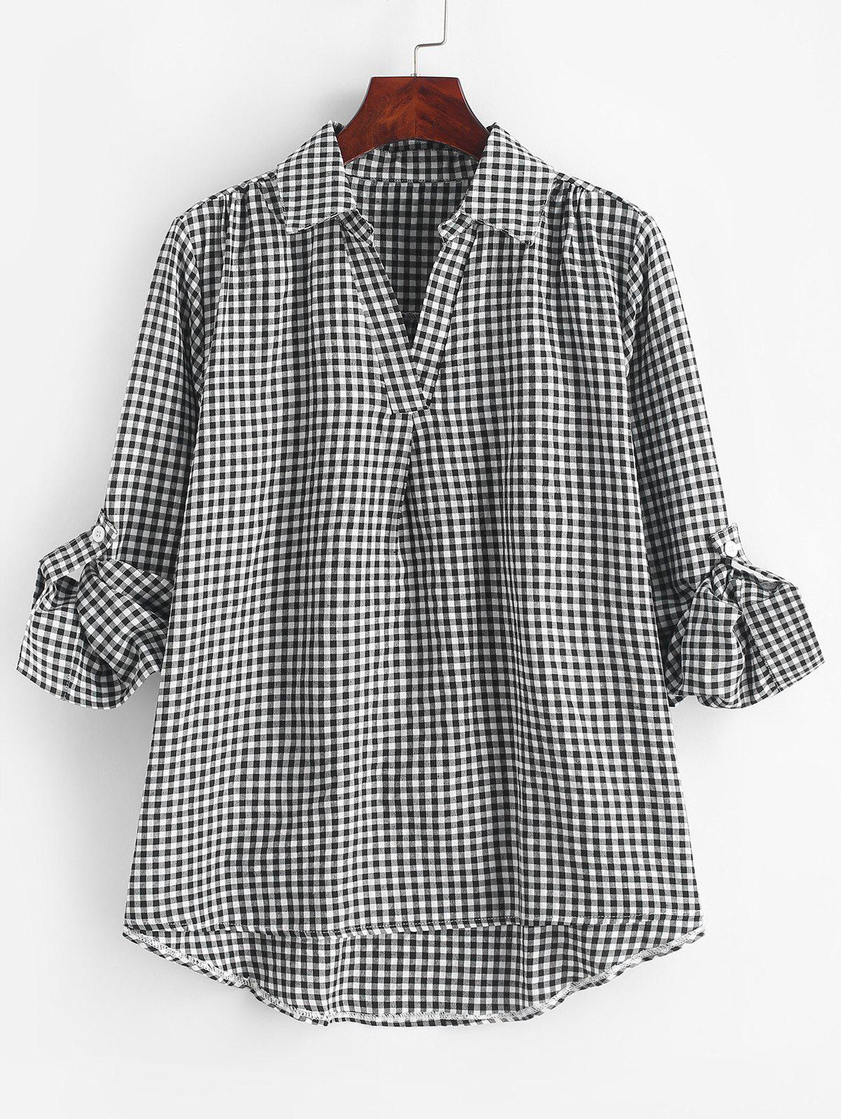 Store Plus Size Checked Roll Up Sleeve Blouse