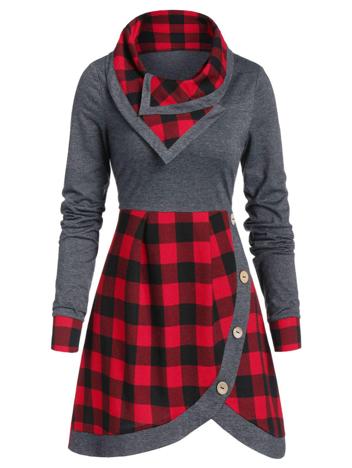 Fancy Plaid Button Embellished Sweatshirt