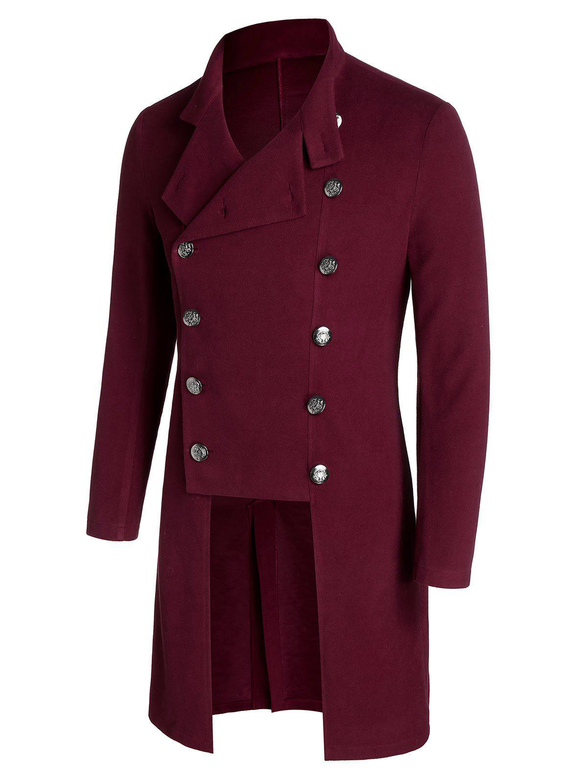 Fancy Double Breasted Back Slit Wool Blend Military Coat